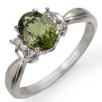 1.06 ctw Green Tourmaline & Diamond Ring 10K White