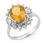3.45 ctw Citrine & Diamond Ring 10K White