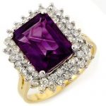 4.75 ctw Amethyst & Diamond Ring 14K Yellow