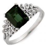 2.12 ctw Green Tourmaline & Diamond Ring 10K White