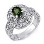 1.73 ctw Green Tourmaline & Diamond Ring 14K White