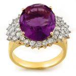 8.18 ctw Amethyst & Diamond Ring 14K Yellow