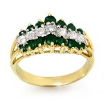1.0 ctw Emerald & Diamond Ring 10K Yellow