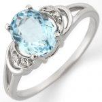 1.56 ctw Aquamarine & Diamond Ring 18K White