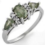1.33 ctw Green Sapphire & Diamond Ring 10K White