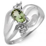 0.54 ctw Green Tourmaline & Diamond Ring 18K White