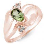 0.54 ctw Green Tourmaline & Diamond Ring 10K Rose