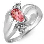 0.54 ctw Pink Tourmaline & Diamond Ring 18K White