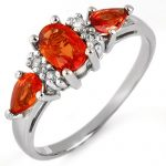 1.33 ctw Orange Sapphire & Diamond Ring 10K White