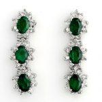 4.88 ctw Emerald & Diamond Earrings 14K White