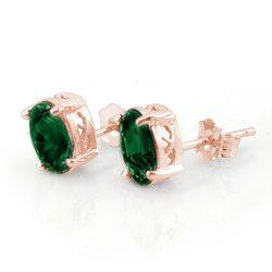 2.0 ctw Emerald Earrings 14K Rose