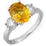 3.75 ctw Yellow Sapphire & Diamond Ring 14K White