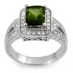 2.55 ctw Green Tourmaline & Diamond Ring 18K White