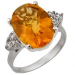 5.10 ctw Citrine & Diamond Ring 18K White