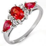 1.33 ctw Red Sapphire & Diamond Ring 10K White