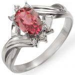 0.79 ctw Pink Tourmaline & Diamond Ring 18K White