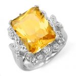 9.25 ctw Citrine & Diamond Ring 14K White