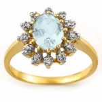 1.62 ctw Aquamarine & Diamond Ring 10K Yellow