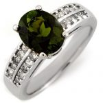3.0 ctw Green Tourmaline & Diamond Ring 14K White