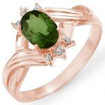 0.79 ctw Green Tourmaline & Diamond Ring 14K Rose