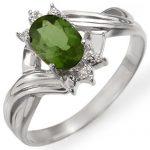 0.79 ctw Green Tourmaline & Diamond Ring 10K White