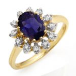 1.22 ctw Iolite & Diamond Ring 10K Yellow