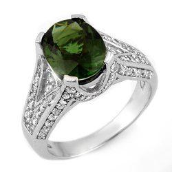 4.55 ctw Green Tourmaline & Diamond Ring 18K White