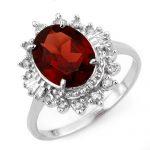 3.45 ctw Garnet & Diamond Ring 10K White