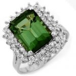 4.75 ctw Green Tourmaline & Diamond Ring 18K White