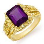 4.0 ctw Yellow Sapphire & Amethyst Ring 10K Yellow