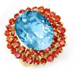 14.25 ctw Red Sapphire & Blue Topaz Ring 10K Yellow