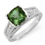 3.0 ctw Green Tourmaline & Diamond Ring 18K White