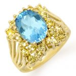 6.0 ctw Yellow Sapphire & Blue Topaz Ring 10K Yellow
