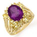 5.0 ctw Yellow Sapphire & Amethyst Ring 10K Yellow