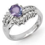 1.50 ctw Tanzanite & Diamond Ring 14K White