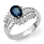 1.75 ctw Blue Sapphire & Diamond Ring 14K White