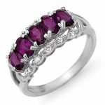 1.65 ctw Amethyst & Diamond Ring 14K White