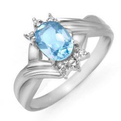 1.04 ctw Blue Topaz & Diamond Ring 10K White