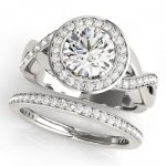 1.84 ctw Certified VS/SI Diamond 2pc Wedding Set Halo 14K