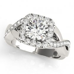 1.65 ctw Certified VS/SI Diamond Halo Ring 14K White