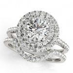 1.45 ctw Certified VS/SI Diamond 2pc Set Solitaire Halo 14K