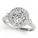 1 ctw Certified VS/SI Diamond Solitaire Halo Ring 14K White