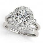 1.12 ctw Certified VS/SI Diamond 2pc Wedding Set Halo 14K