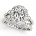 1.62 ctw Certified VS/SI Diamond 2pc Wedding Set Halo 14K