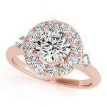 1 ctw Certified VS/SI Diamond Solitaire Halo Ring 14K Rose