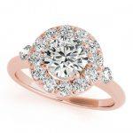 1.25 ctw Certified VS/SI Diamond Halo Ring 18K Rose Gold