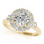 1 ctw Certified VS/SI Diamond Halo Ring 18K Yellow Gold