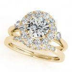 1.62 ctw Certified VS/SI Diamond 2pc Wedding Set Halo 14K