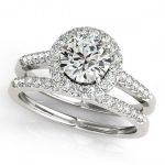 0.96 ctw Certified VS/SI Diamond 2pc Wedding Set Halo 14K