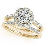 1.30 ctw Certified VS/SI Diamond 2pc Wedding Set Halo 14K